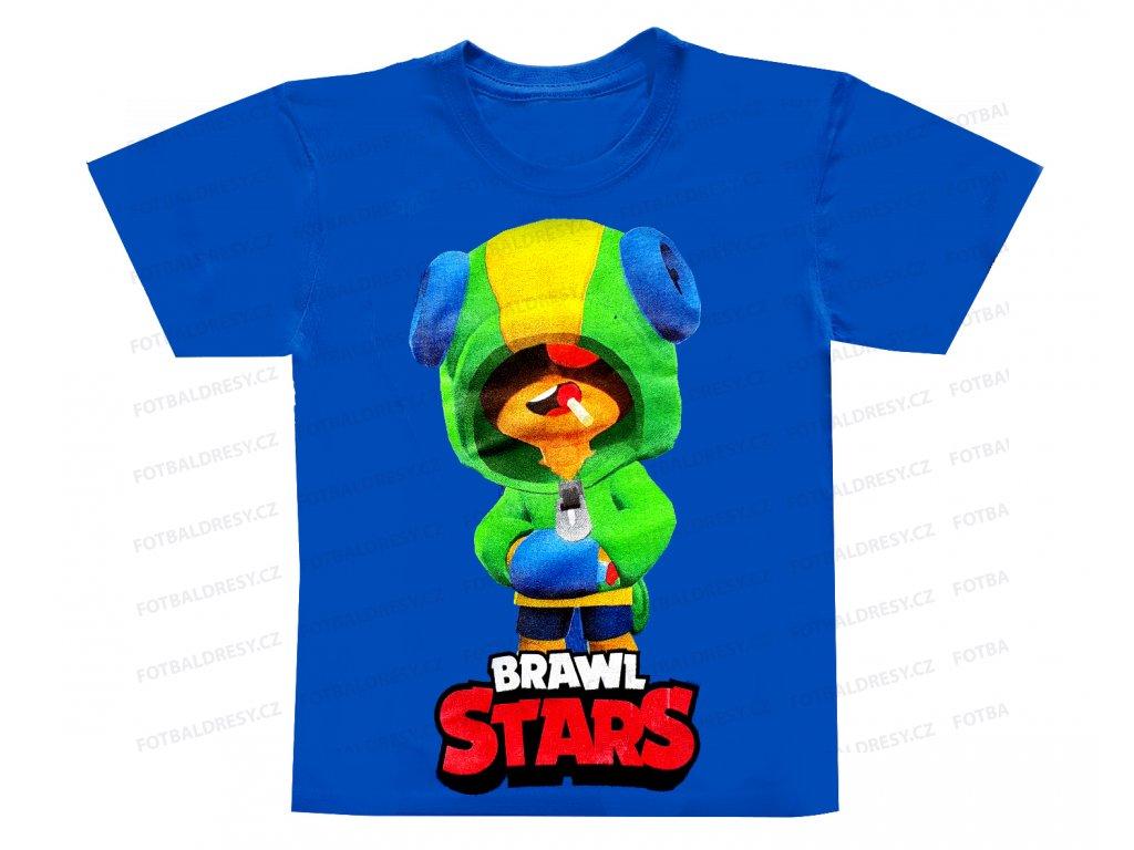 Tričko Brawl Stars bavlna Leon modrá