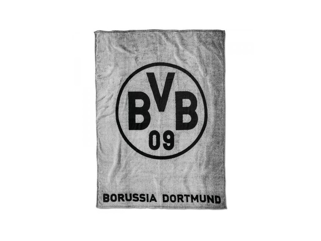 Fleecová deka Borussia Dortmund 150x200cm šedá