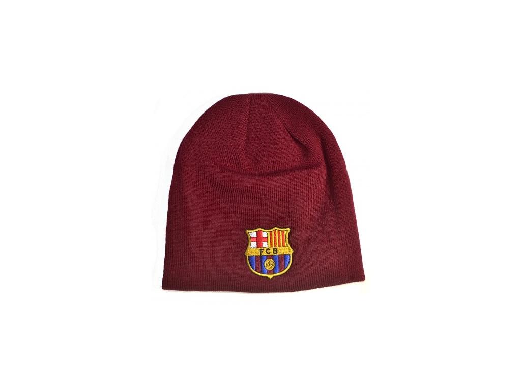 Zimní čepice FC Barcelona červená