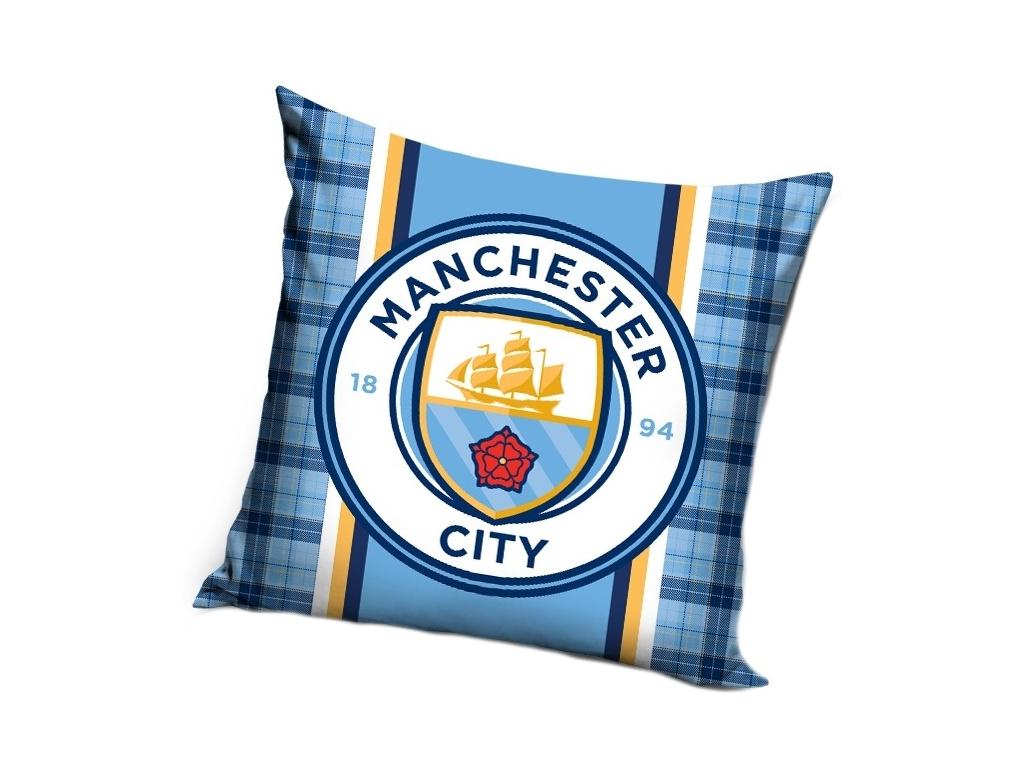 Polštářek Manchester City káro 40x40cm