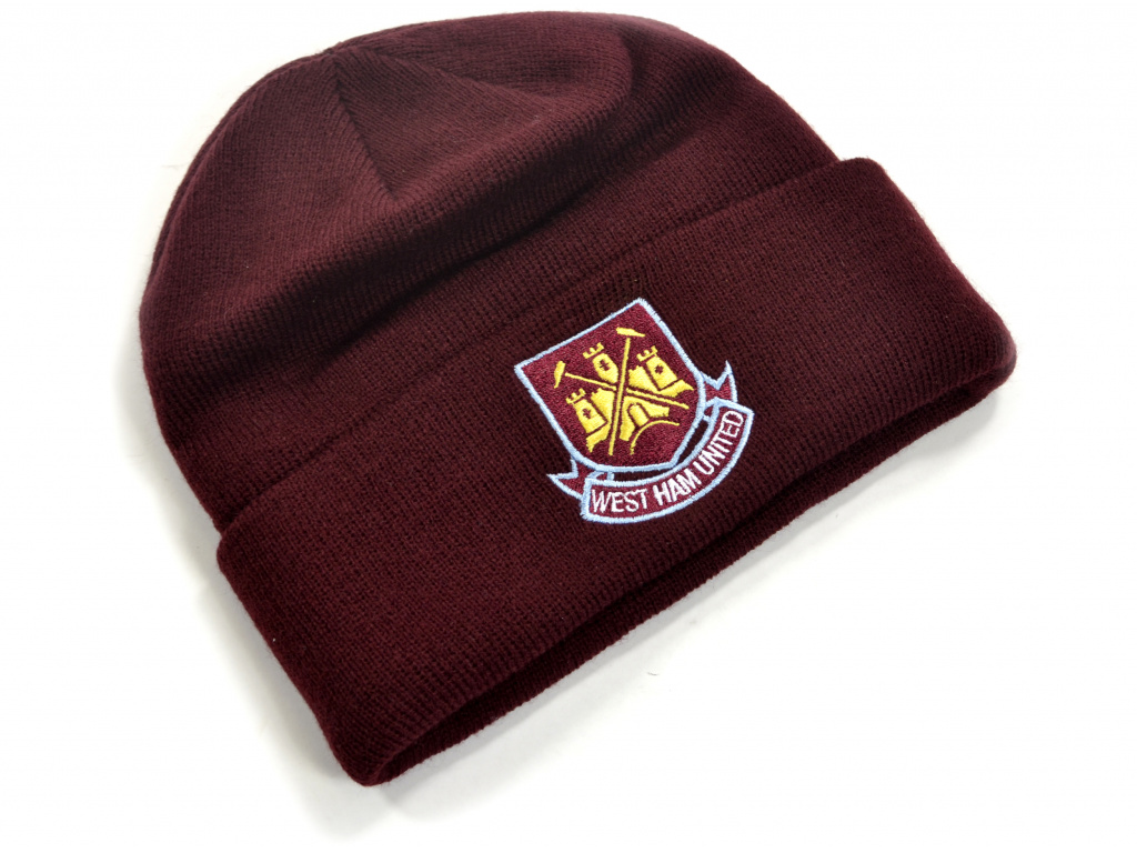 west ham classic crest knitted turn up hat claret 1