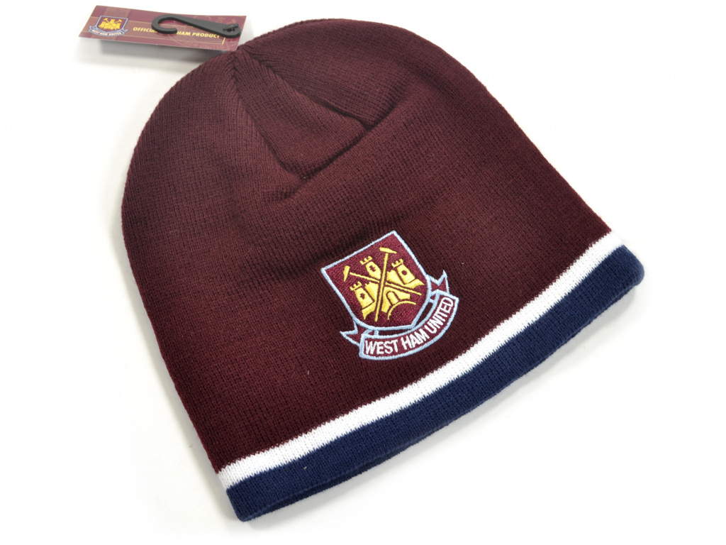 west ham classic crest youths knitted beanie hat claret navy 1