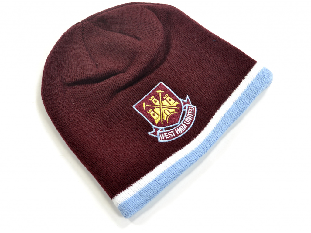 west ham classic crest youths knitted beanie hat claret sky 1