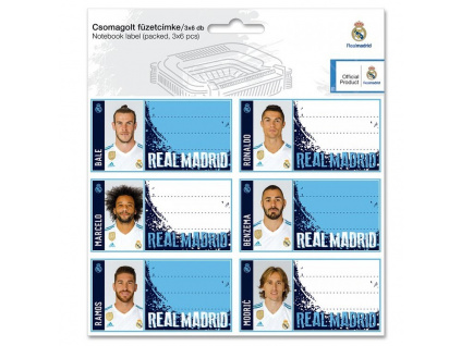 Jmenovky na sešity Real Madrid 18 players 18ks