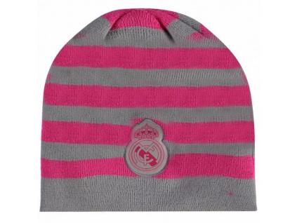 Dámská zimní čepice Real Madrid pink stripes