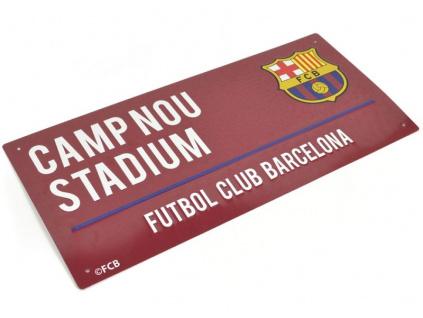 Plechová cedule FC Barcelona Camp Nou grana