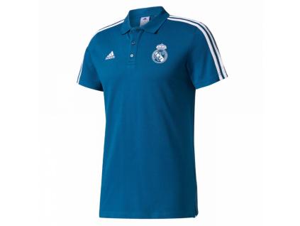 Pánské polo Adidas Real Madrid modré 17/18