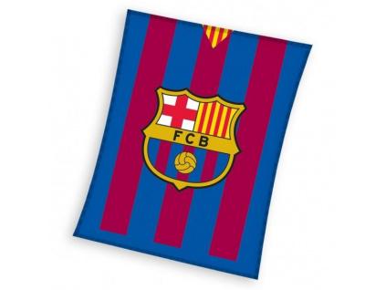 Fleecová deka FC Barcelona stripes 110x140cm