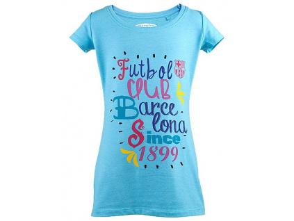 Dívčí tričko FC Barcelona Pictur azul