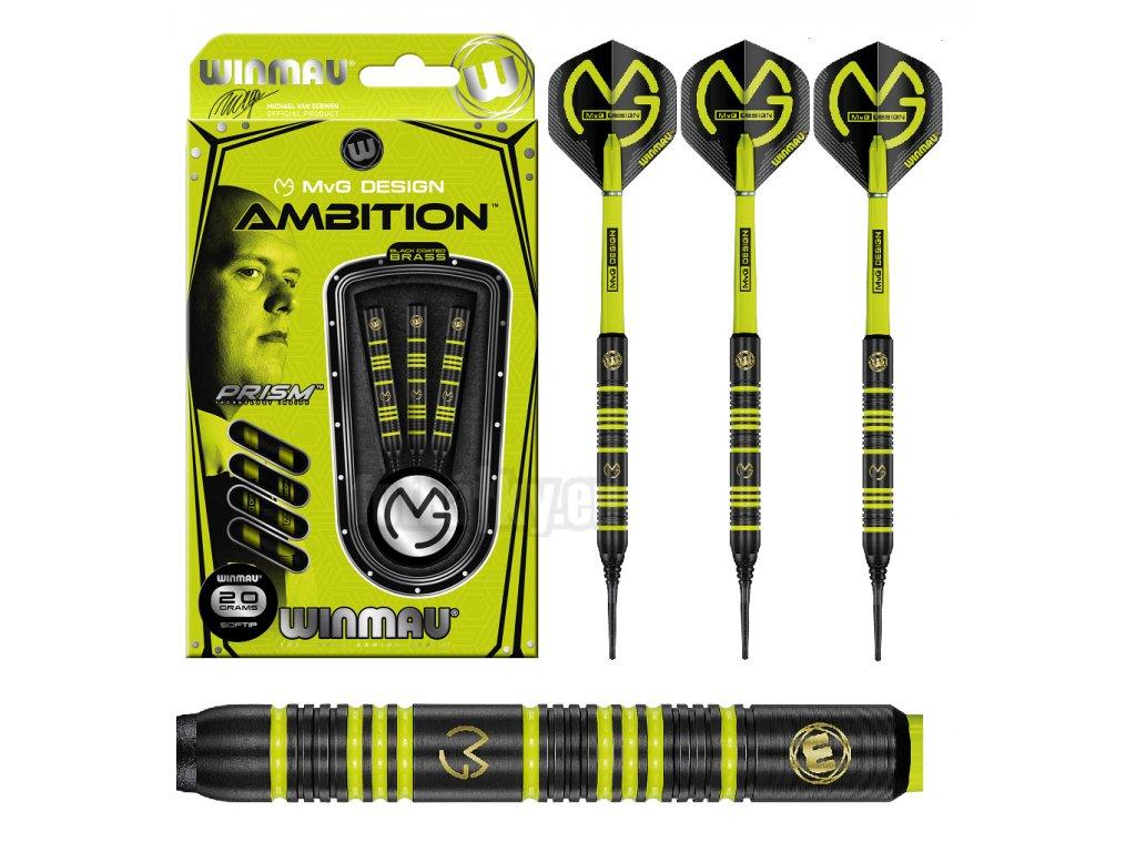 Šipky Winmau MVG Ambition 20g - soft brass
