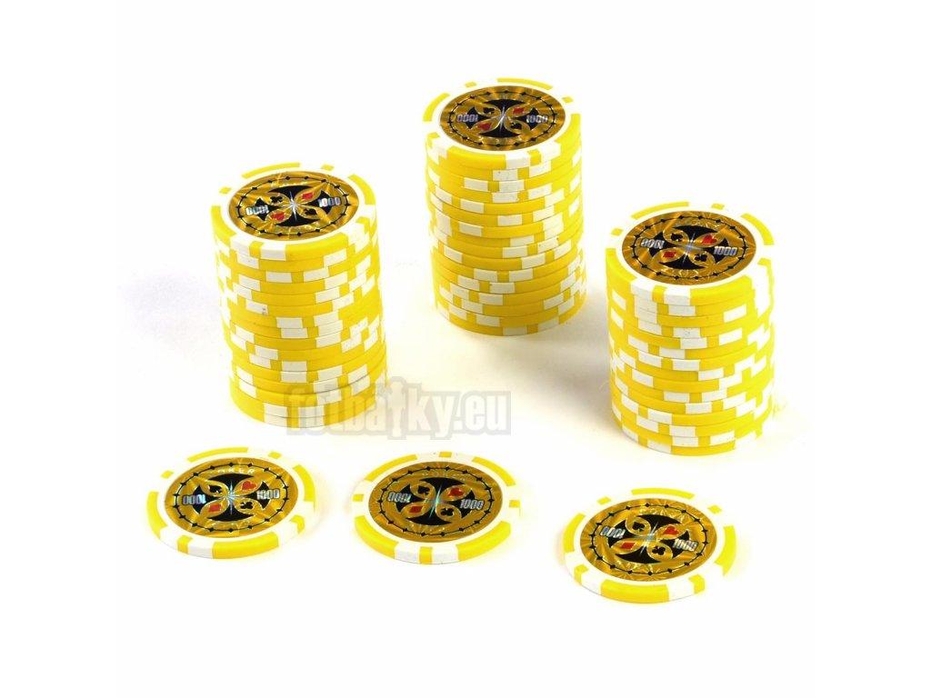 50 ks poker žetonů v hodnotě 1000 o váze 12g s kovovým jádrem