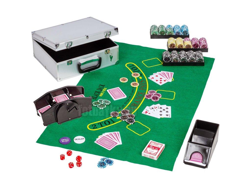 Ultimate Pokerkufr 300 žetonů s míchačkou karet