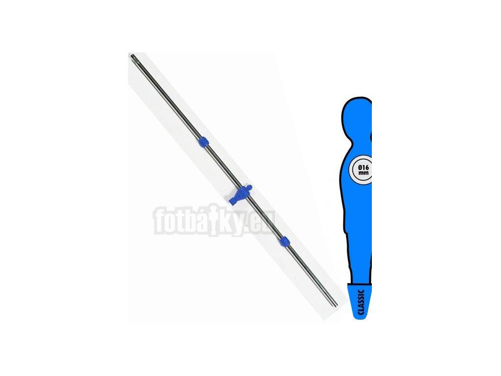 Tyč na stolní fotbal 16 mm s 1 modrý hráč-brankář