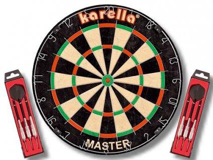 Sisalový šipkový terč Karella MASTER + 2 sety šipek ST1