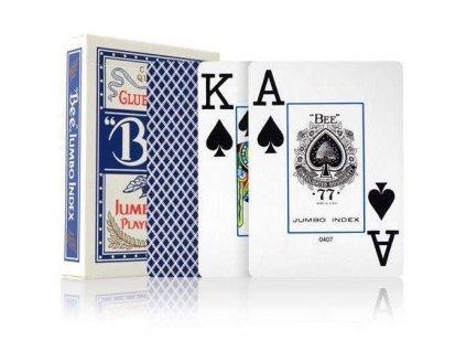 Poker karty Bicycle Bee Jumbo index - Modré