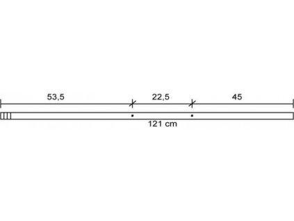 Tyč na fotbálek – 2 otvory – ocel, 16mm