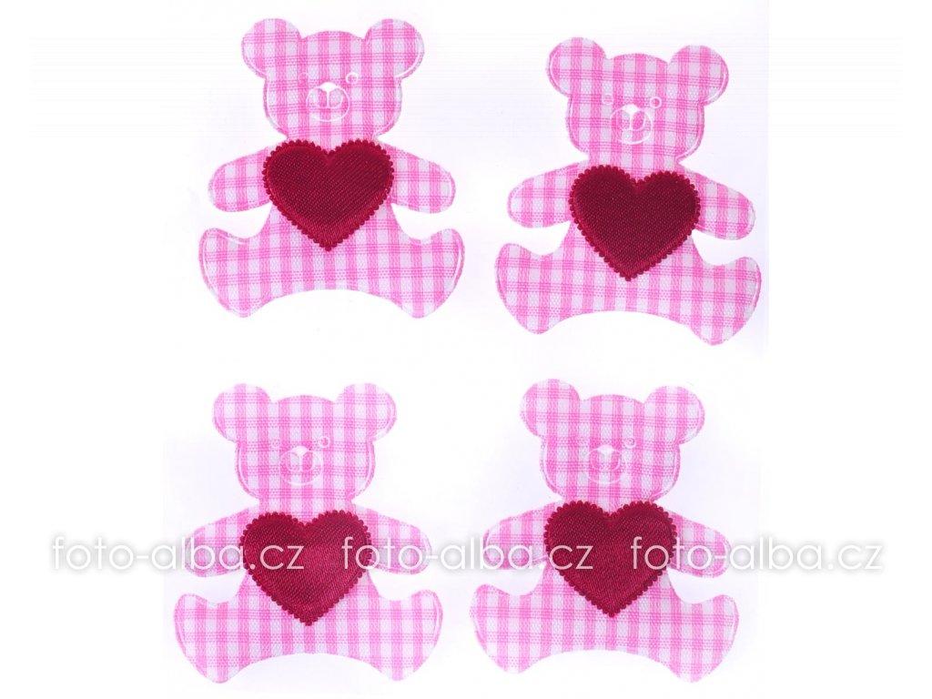 scrapbook nálepky medvídek růžový