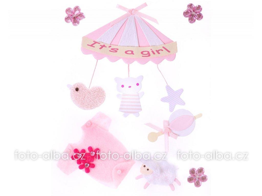 scrapbook nálepky kolotoč růžový