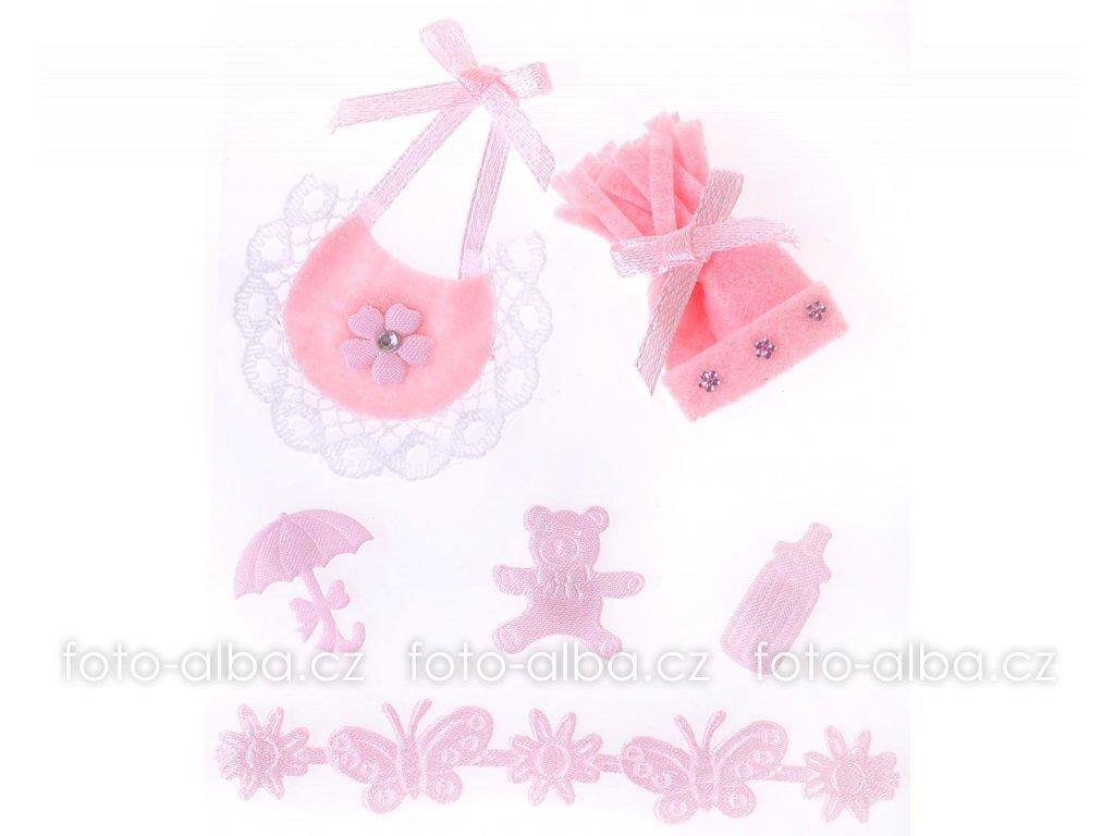 scrapbook nálepky kulíšek růžový