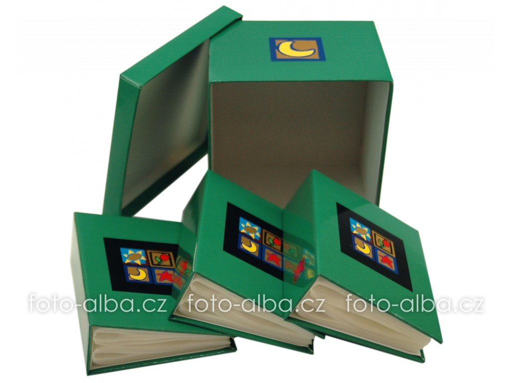 fotoalbum okno v krabičce zelené