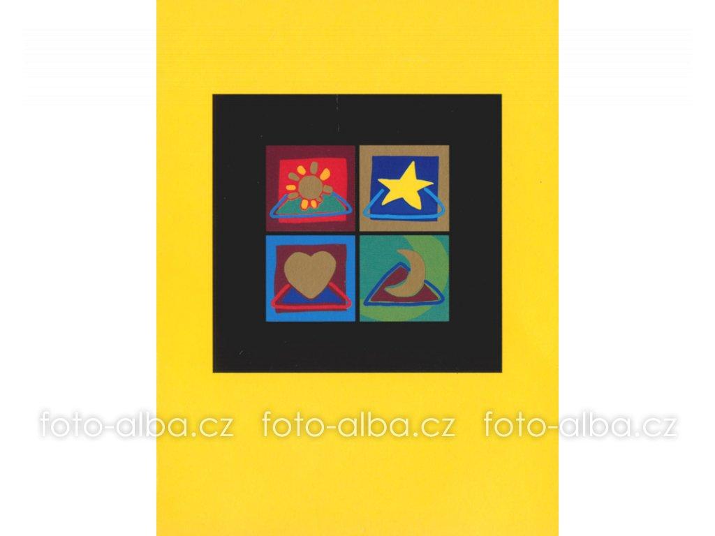foto-album sešitek okno žluté