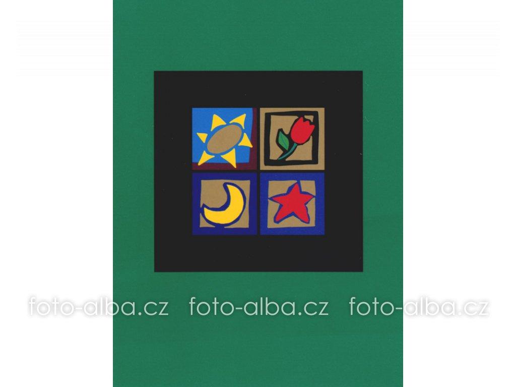 foto-album sešitek okno zelené