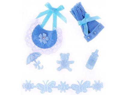 scrapbook nálepky kulíšek modrý