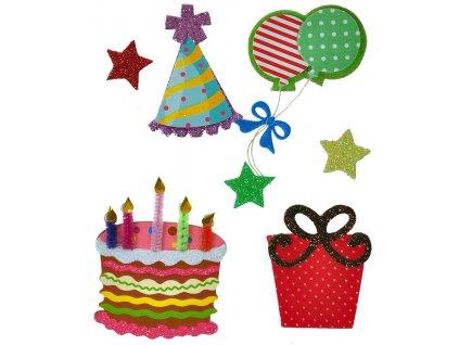 scrapbook nálepky narozeniny dort