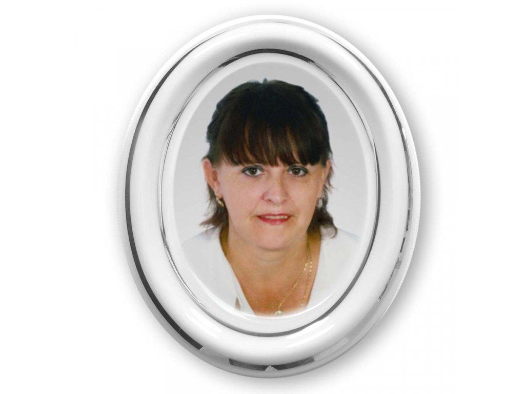 foto na hrob porcelán Ovál 8x9,5cm stribrna linka barevné foto