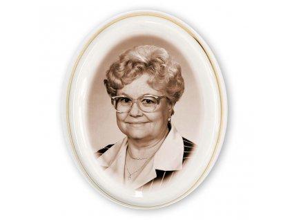 foto na hrob porcelán Ovál 7x8,5cm dekor zlaty hnědé foto