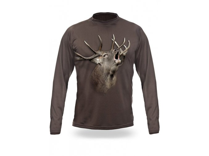3D triko s potiskem dlouhý rukáv jednobarevné jelen