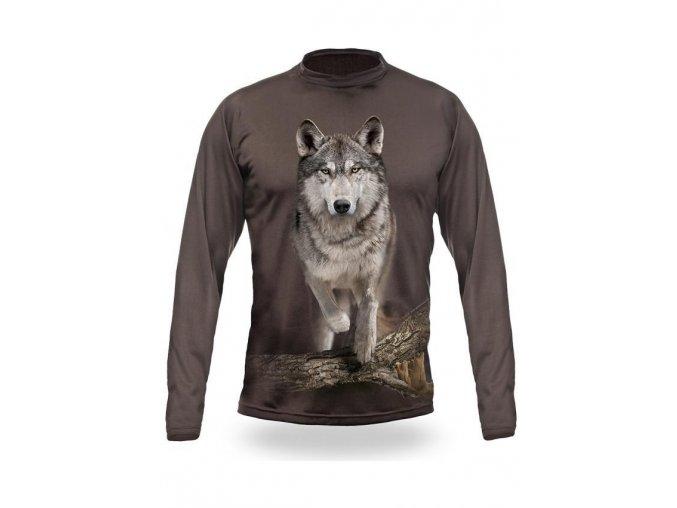 3D triko s potiskem dlouhý rukáv jednobarevné vlk