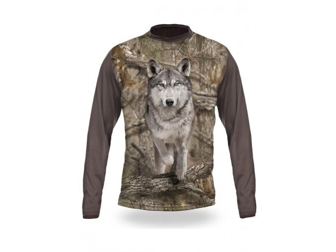 3D triko s potiskem dlouhý rukáv maskované běžící vlk