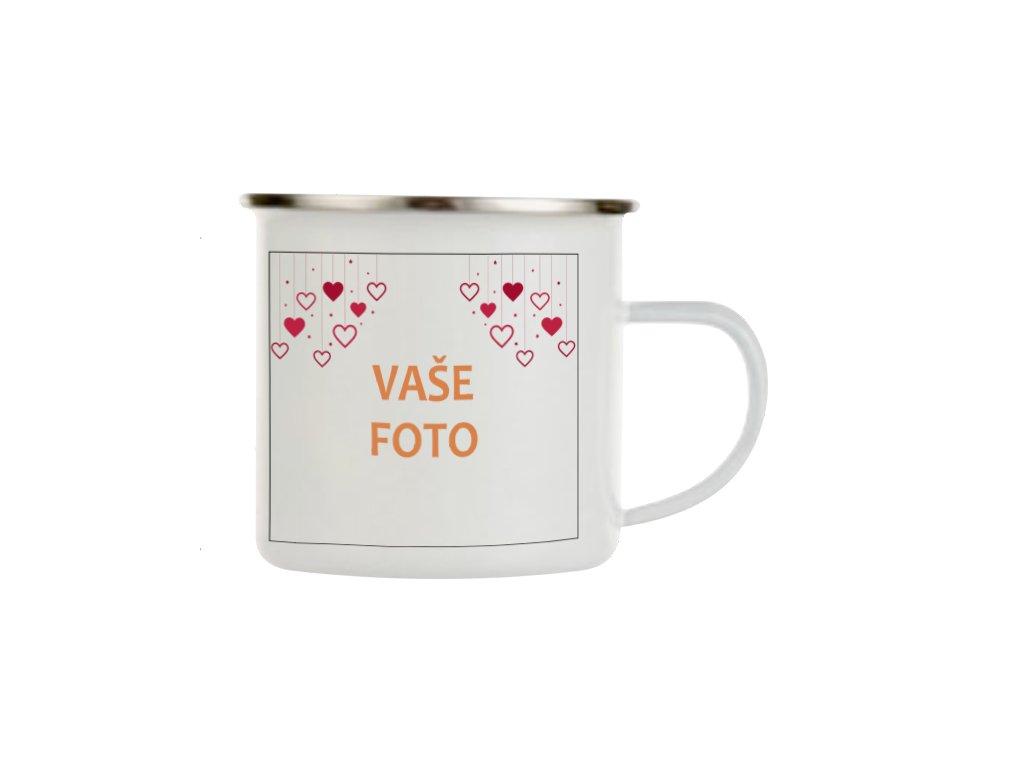 Smaltovaný hrnček s fotkou rámik VALENTÍN 4  •  330 ml FOTOpošta