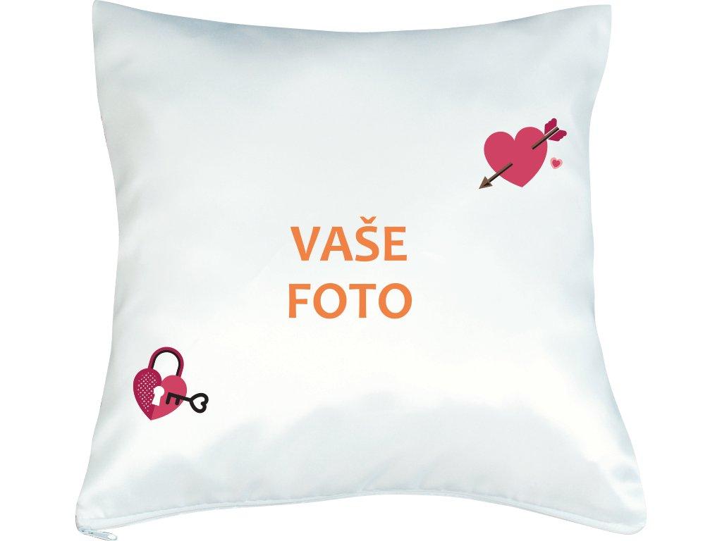 Vankúš s fotkou rámik VALENTÍN 1  40x40 cm FOTOpošta