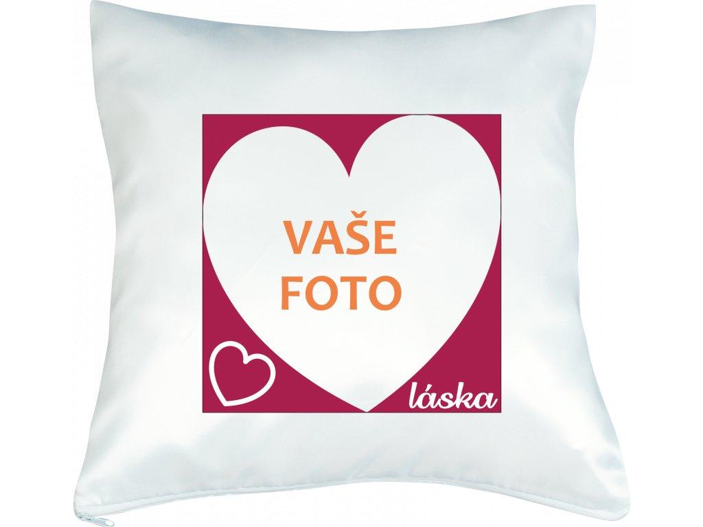 Vankúš s fotkou rámik VALENTÍN 4  40x40 cm FOTOpošta