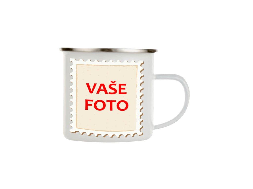 Smaltovaný hrnček s fotkou rámik známka 330 ml FOTOpošta