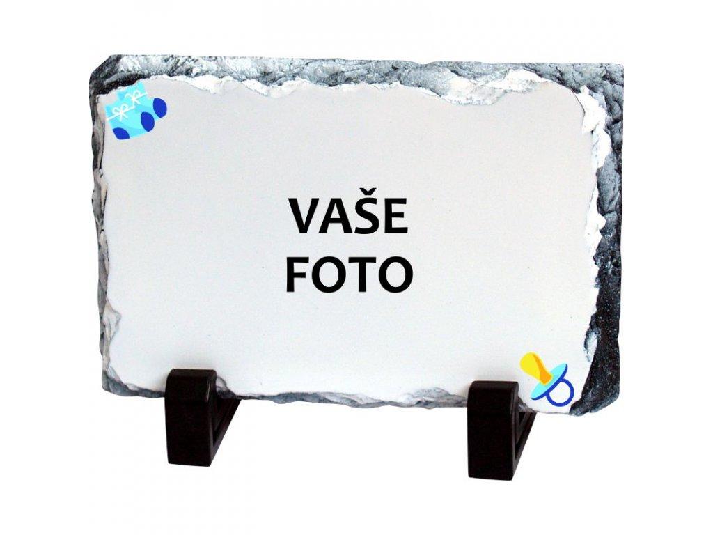 Foto kameň rámik CUMLÍK modrý 19x14 cm FOTO pošta