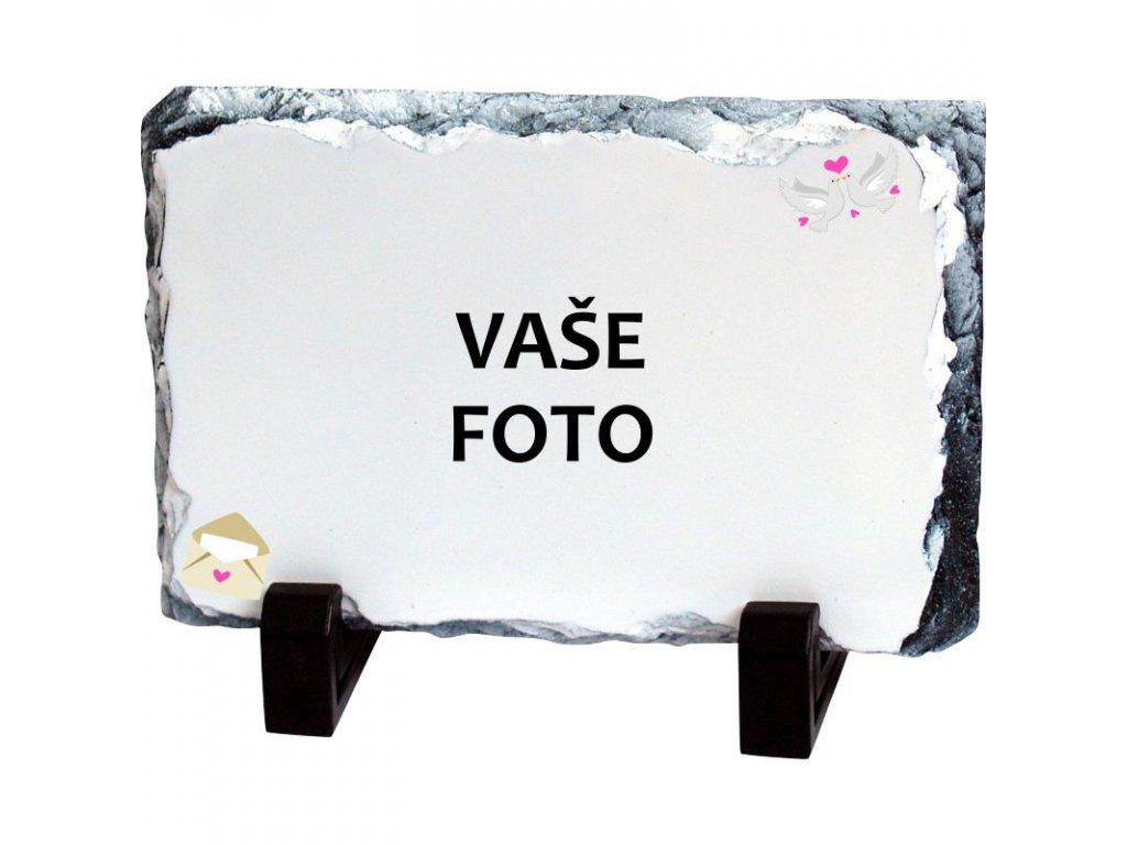 Foto kameň rámik SVADBA 2 19x14 cm FOTO pošta