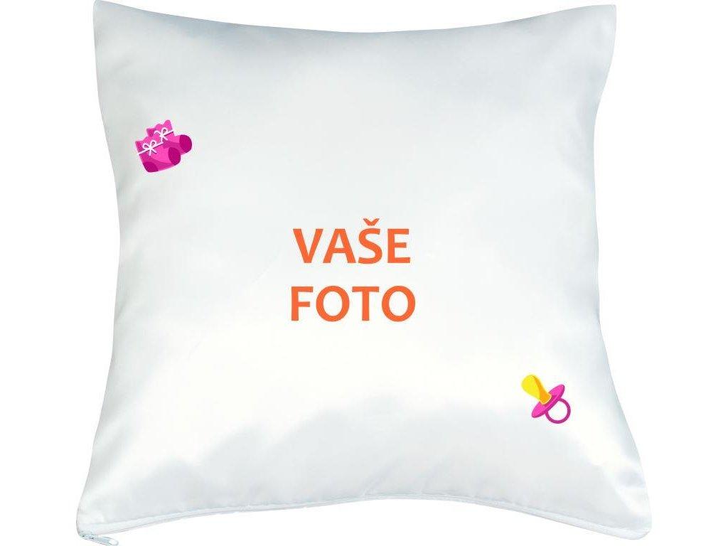 Obliečka s fotkou rámik CUMLÍK ružový 40x40 cm FOTOpošta