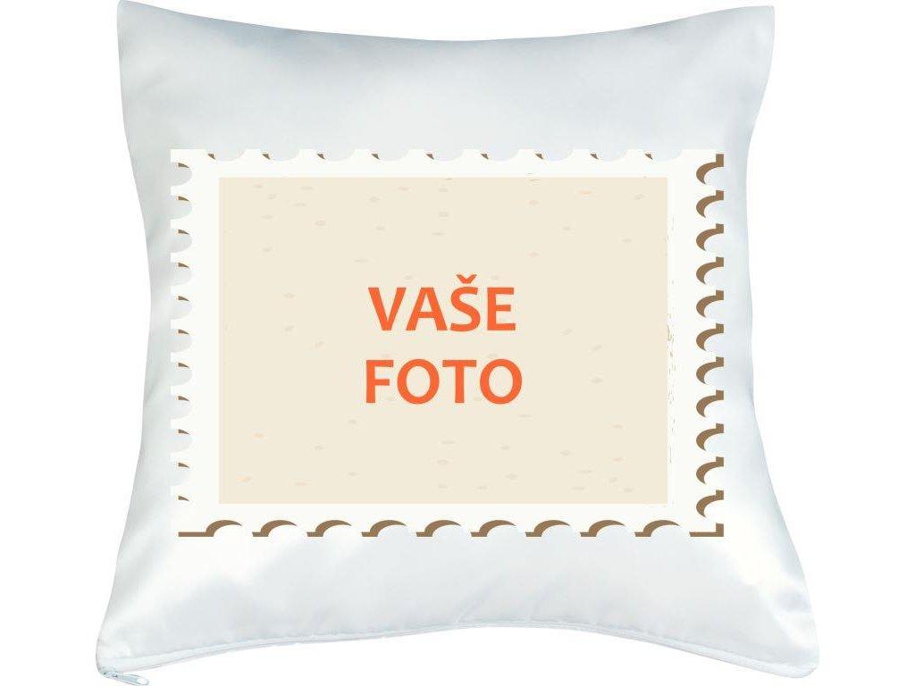 Vankúš s fotkou rámik ZNÁMKA 40x40 cm FOTOpošta