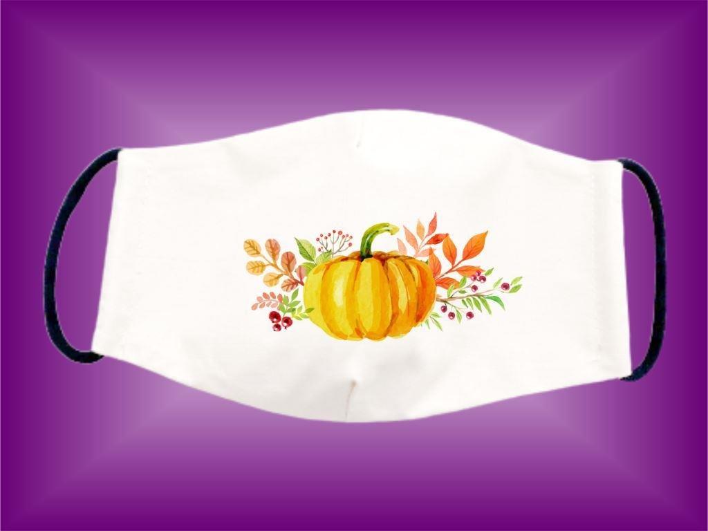 Rúško Tekvica maľovaná 2 bavlnené dvojvrstvové FOTOpošta