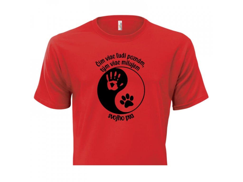 pánske tričko rámik • Pes Jing Jang červené tričko titulka