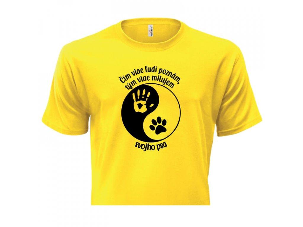 pánske tričko rámik • Pes Jing Jang žlté tričko titulka