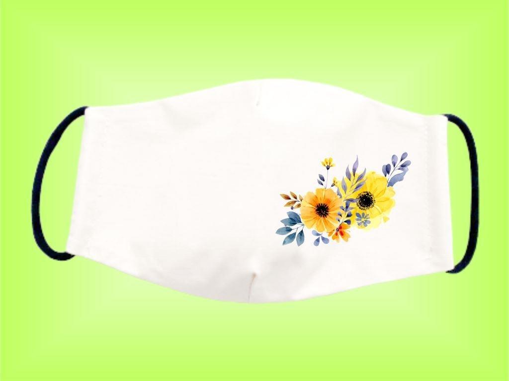 Rúško KVET ŽLTÝ bavlnené dvojvrstvové FOTOpošta