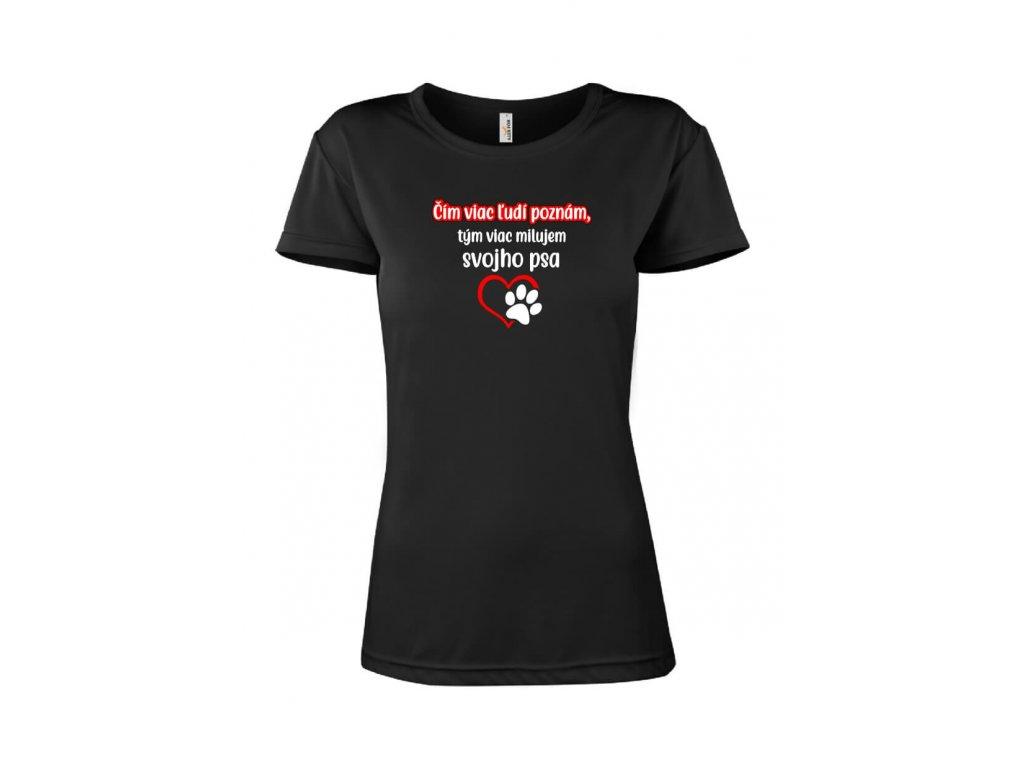 Vtipné tričko motív Pes dámsky strih FOTOpošta čierne