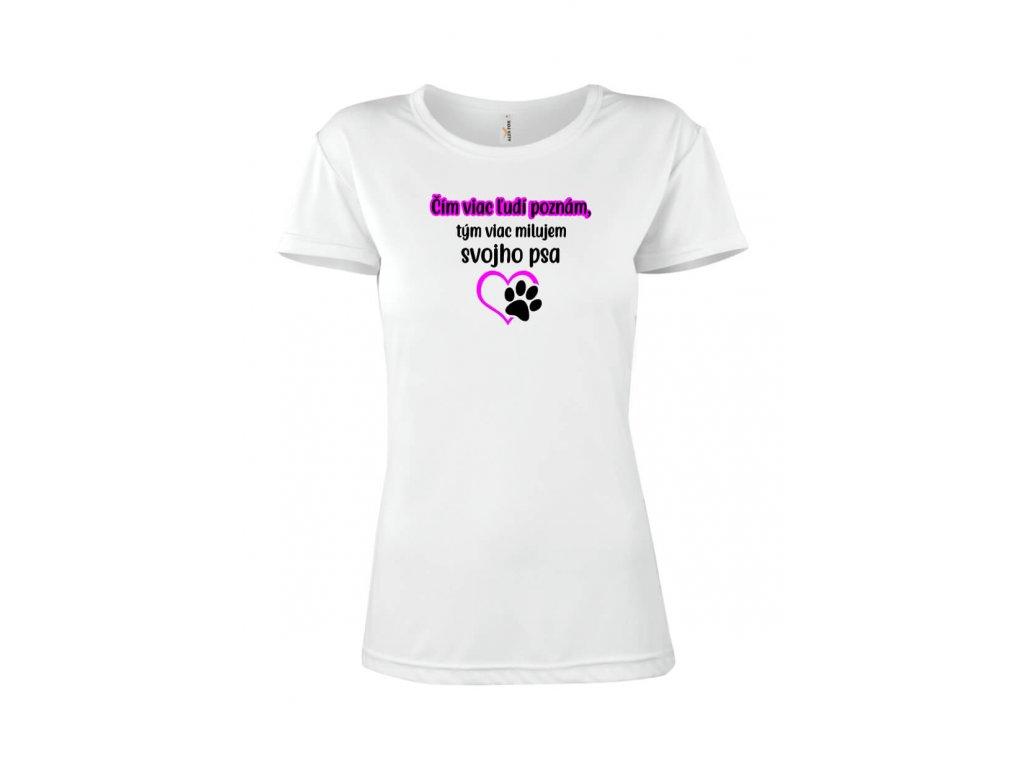 Vtipné tričko motív Pes dámsky strih FOTOpošta biele