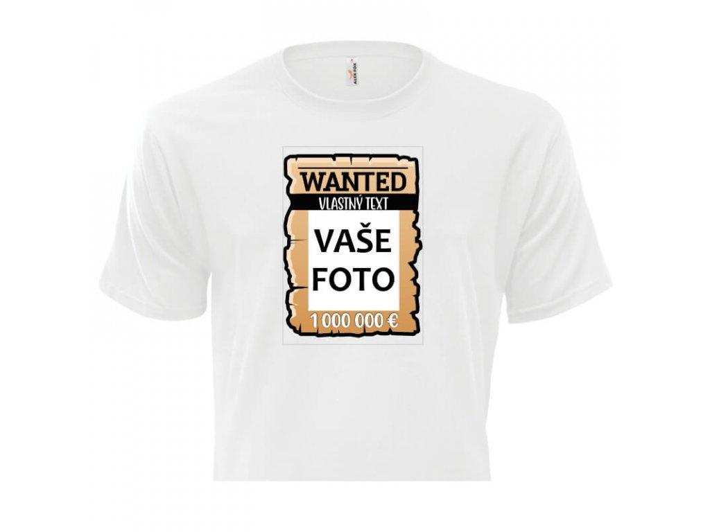 pánske tričko rámik Wanted vlastnýText 1 titulka