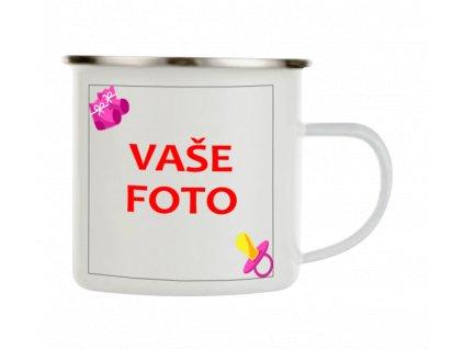 Smaltovaný hrnček s fotkou rámik cumlík ružový 330 ml FOTOpošta