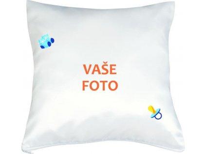 Vankúš s fotkou rámik CUMLÍK modrý 40x40 cm FOTOpošta